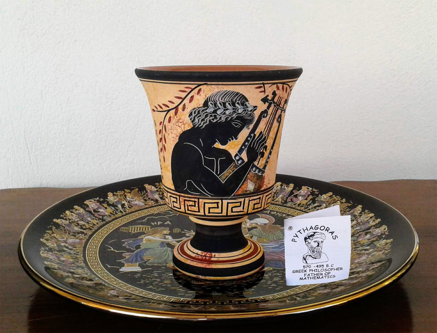 Pythagoras cup, Fair cup, Museum Copy, engraved in hand, depicts God Apollo, stoneware, pottery