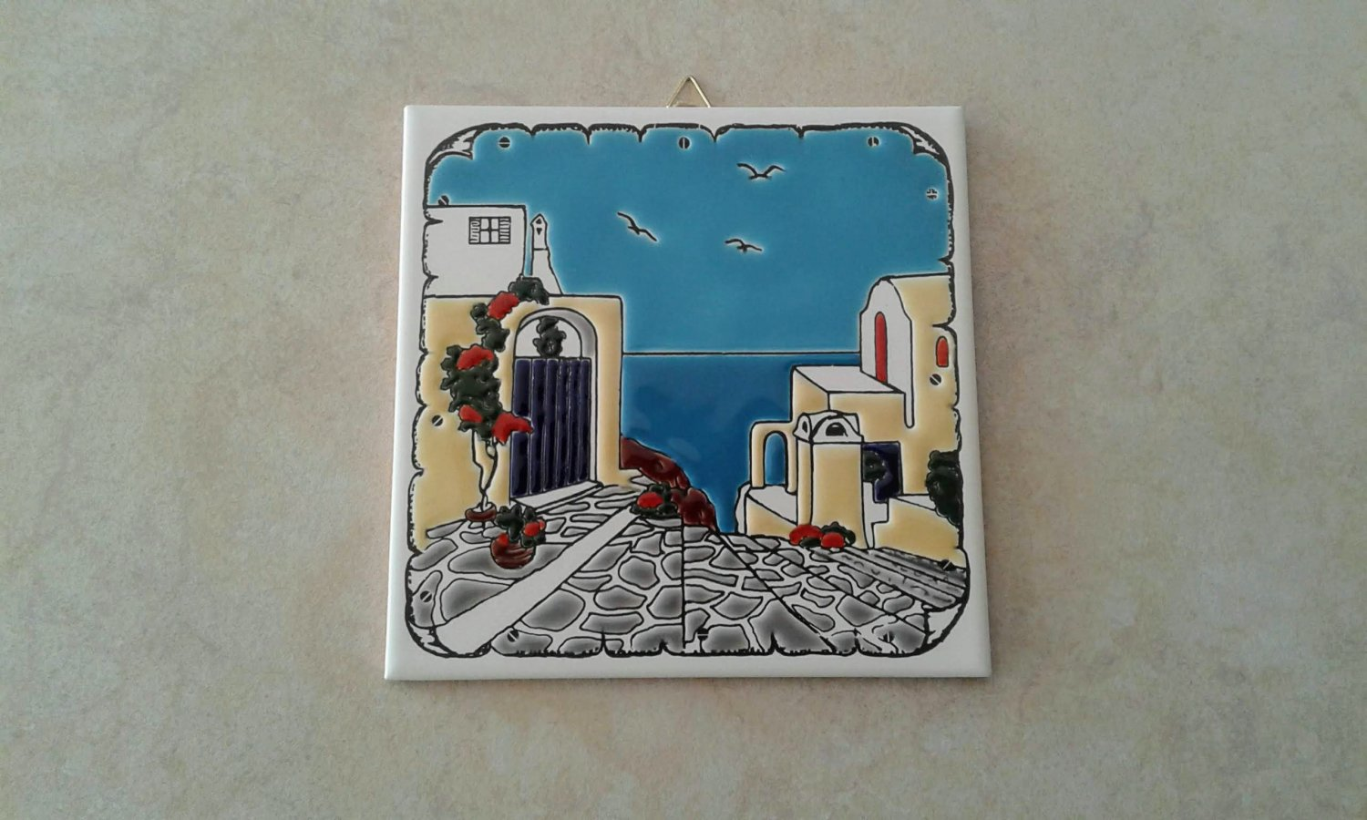 Ceramic Art Tile, Greek Handmade, Hand Painted in Relief Wall Decor, Landscape, stoneware, pottery