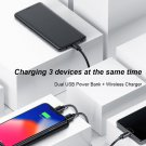 Wireless Charger Power Bank For iPhone x 8 LCD Dual USB Battery 8000mAh