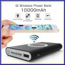 10000 mAh Power Bank Qi Wireless Charger Backup Battery For Samsung and iphone