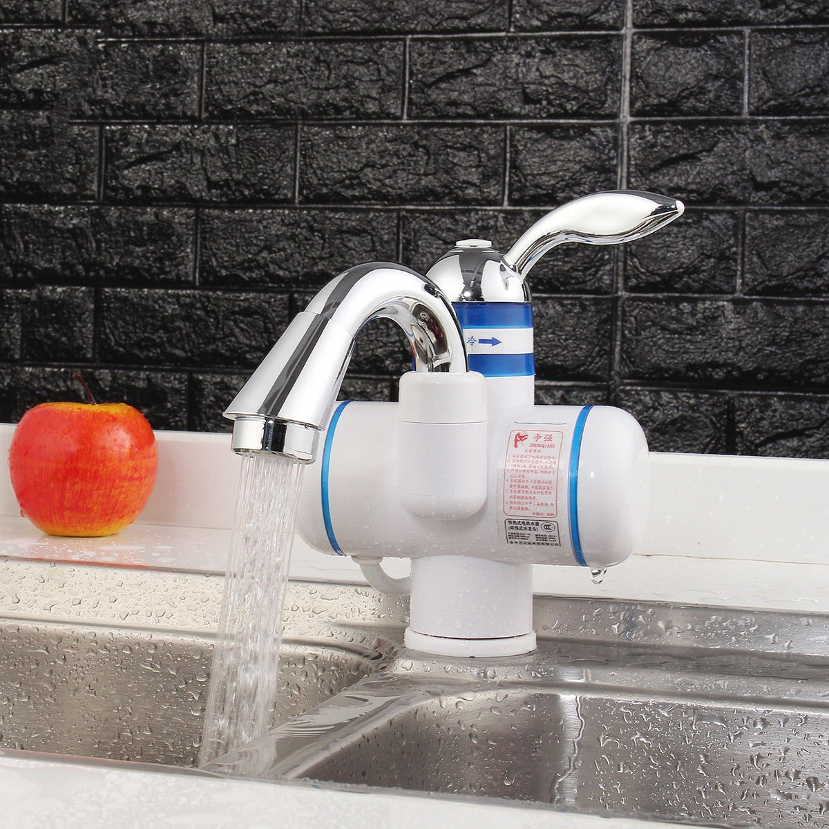 Kitchen Instant Electric Water Heater Basin Faucet Tankless Waterproof Hot Cold