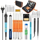 60W Adjustable Temperature Electric Soldering Iron Kit+5pcs Tips Digital Solderi