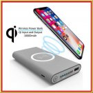 10000mAh Qi wireless charger power bank backup batterie for iphone samsung phone