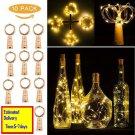 10pcs Warm Wine Bottle Cork Shape Lights 20 LED Night Fairy String Lights Lamp u