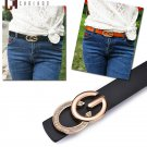 Women C Bright G Solid Letters Style Gold Buckle Leather Slim Belts For Jeans