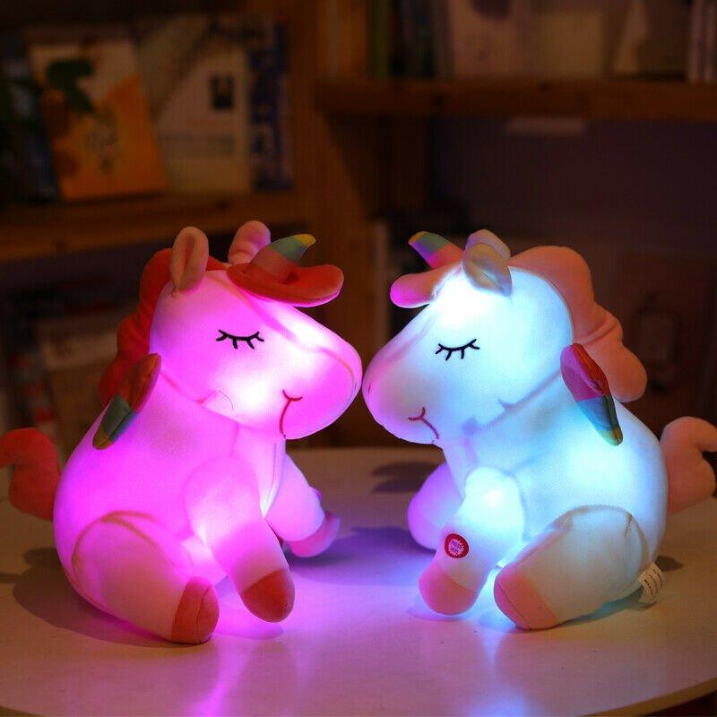60cm LED Plush Light Up Toys Unicorn Stuffed Animals Plush Cute Pony Horse Gifts