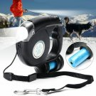 New 4.5M Retractable Pet Dog Leash With LED Flash Light with Garbage Bag