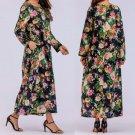 Women Print Long Sleeve Cotton Linen Loose Pocket Long Bohe Dress