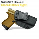 B.B.F Make IWB Tactical KYDEX Gun Holster Glock43 Black Right