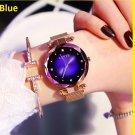 Luxury Blue Watches Fashion Diamond Ladies Starry Sky Magnet Watch Waterproof