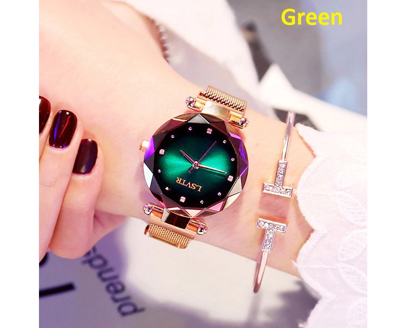 Luxury Green Women Watches Fashion Diamond Ladies Starry Sky Magnet Watch Waterproof