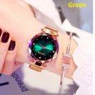 Luxury Green Women Watches Fashion Diamond Ladies Starry Sky Magnet Watch Waterproof