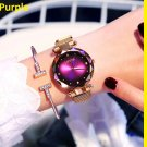 Luxury Purple Women Watches Fashion Diamond Ladies Starry Sky Magnet Watch Waterproof