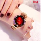 Luxury Red Women Watches Fashion Diamond Ladies Starry Sky Magnet Watch Waterproof
