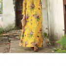 2019 New Vintage Women Maxi Floral Dress Plus Size Long Sleeves Pockets -Yellow