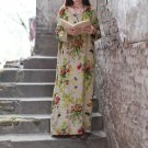 2019 New Vintage Women Maxi Floral Dress Plus Size Long Sleeves Pockets -Gray