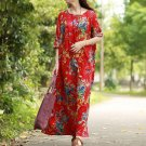 2019 New Vintage Women Maxi Floral Dress Plus Size Long Sleeves Pockets -Red