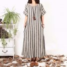 2019 ZANZEA Fashion Women Striped Dress Summer Vintage Short Sleeve Maxi Long