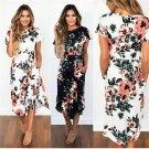 2019 Summer Short sleeve print midi dress Floral Print Boho Beach Dress Tunic Maxi Dress Women