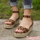 Puimentiua Comfort Leopard Wedges Sandals For Women High Heels Summer Shoes 2019