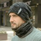 Neck Warmer Knitted Hat Scarf Set Fur Wool Lining Thick Warm Knit Beanies