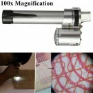 100X Handheld Pocket LED Pen Style Microscope Loupe Gem Jewelry Magnifier Zoom