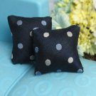Ooak 2PCS Dark Blue Dot Silk Pillow For Sofa Couch Bed 1/12 Dollhouse Miniature
