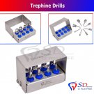 SD00281 Dental Trephine Drills Kit 8 PCS Implant Surgical / Dental Surgery Bur Holder CE