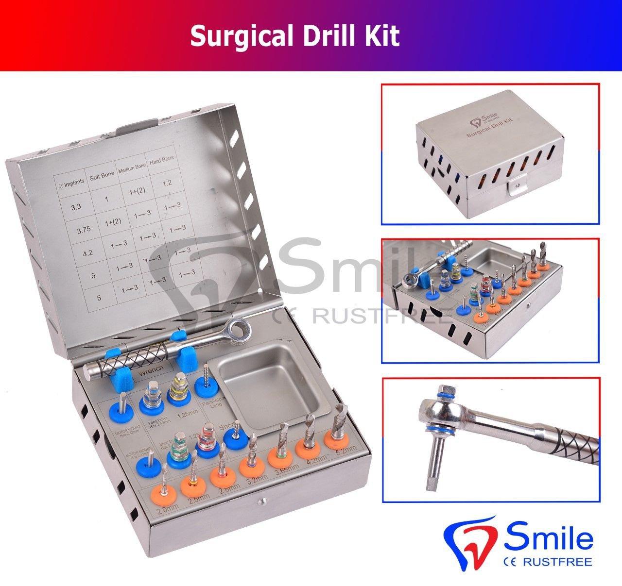 SD0357 Dental Surgical Drill Kit 16 Pcs Set Implant Instrument Tools Ratchet Smile UK
