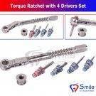 SD0370 Dental Implant Torque Wrench Ratchet 10-40Ncm & 4 x Drivers Set New Smile Dental
