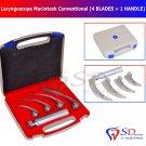 SD0288 Laryngoscope Macintosh 4x Cvd Blades Conventional Set Medical Diagnostic Exam CE