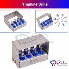 SD0281 Dental Trephine Drills Kit 8 PCS Implant Surgical / Dental Surgery Bur Holder CE