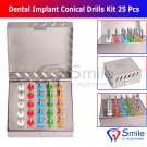SD0364 Dental Implant Conical Drills Kit 25 Pcs Set Dental Surgery Instruments Smile UK