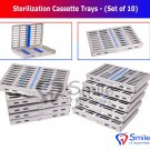 SD0374 10 Dental Autoclave Sterilization Cassettes Rack Box Tray For 10 Instruments UK