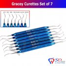 SD0183 Titanium Coated Dental Gracey Curettes Set of 7 Periodontal Scaler Calculus NEW