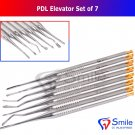 SD0366/ 7 PCS PDL Luxating Dental Elevators Set - Solid Handle With Micro Serrated Tips