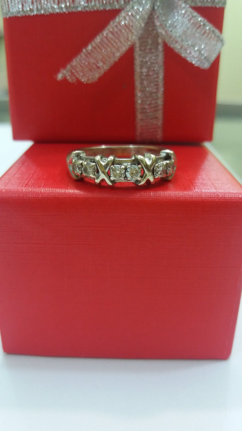 Tiffany & Co. 18K Solid White Gold Schlumberger 6 Natyral Diamond Ring Size 7.5 Very Rare