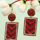 Handmade Artificial Earrings Aurora Red, Bright White And Old Gold Color