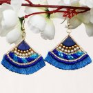 Handmade Artificial Earrings Imperial Blue Color