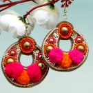 Handmade Artificial Earrings Zinnia And Super Pink Color