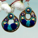Handmade Artificial Earrings Sky Blue And Imperial Blue Color