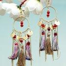 Handmade Artificial Earrings Ochre Color