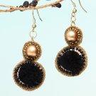 Handmade Artificial Earrings Caviar And Golden Color
