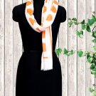 Viscose Stole White And Orange Color