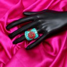 Handmade Artificial Ring High Risk Red And Blue Atoll Color