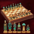 Rare Chess Set Chinese Retro Qin Han Dynasty Unique Carving Antique War Theme - Free Shipping