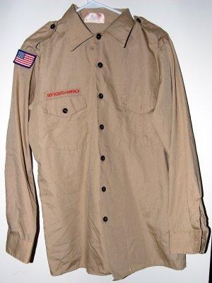 Official Boy Scout Uniform Shirt Adult Long Sleeve Medium Used