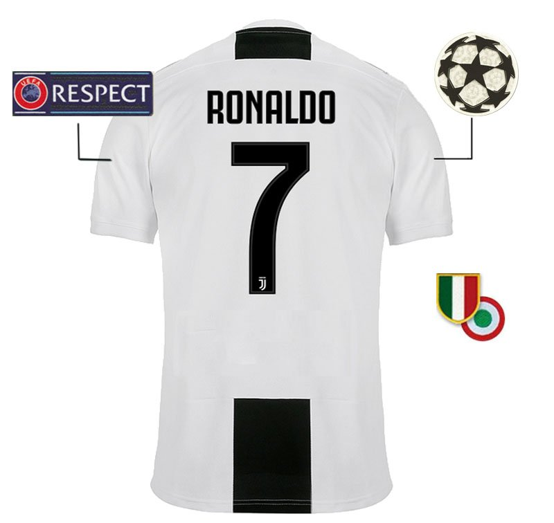 juventus home jersey 2018 19 ronaldo 7 uefa champions league scudetto and coppa italia patches ecrater