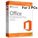 Microsoft Office 2016 Professional License Key NEW RELEASE Lifetime Key 3 Windows Users