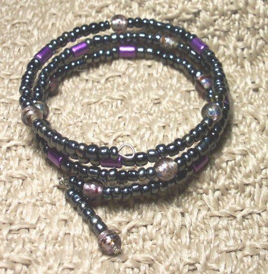 Dark Purple and Black Memory Wire Bracelet